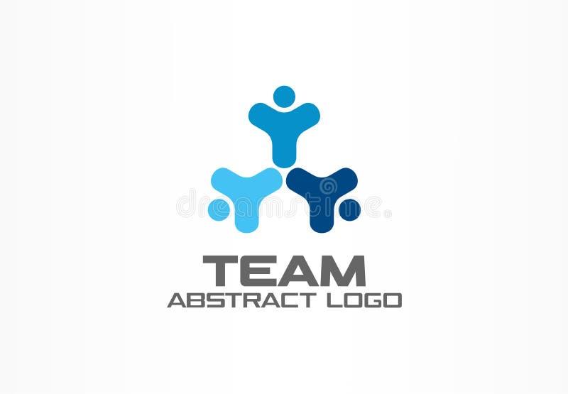 Abstrakt logo för affärsföretag Designbeståndsdel för företags identitet Teamwork social massmedialogotypidé lyckligt folk royaltyfri illustrationer