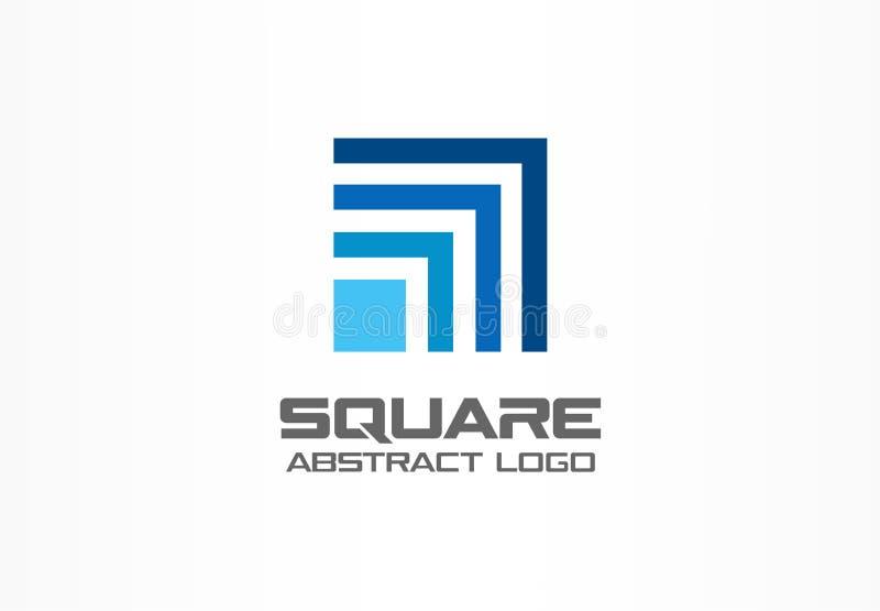 Abstrakt logo för affärsföretag Designbeståndsdel för företags identitet Teknologifyrkant, nätverk som packar ihop tillväxt royaltyfri illustrationer