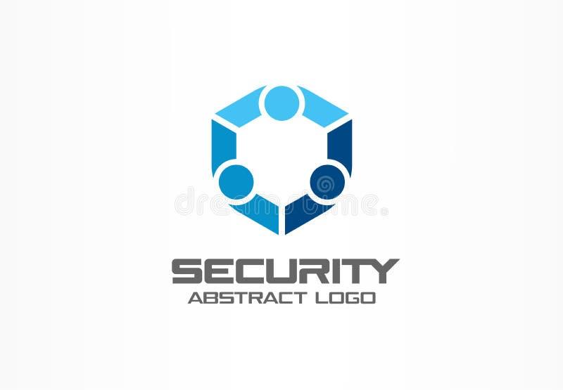 Abstrakt logo för affärsföretag Designbeståndsdel för företags identitet Vakt sköld, säker byrålogotypidé royaltyfri illustrationer
