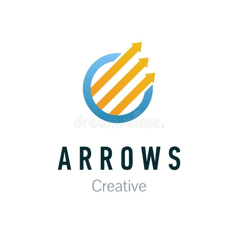 Abstrakt logo för affärsföretag Designbeståndsdel för företags identitet Pil upp, tillväxt-, framsteg- och framgångbegrepp royaltyfri illustrationer