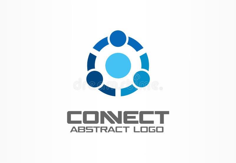 Abstrakt logo för affärsföretag Teknologi social massmedialogotypidé Folket förbinder, cirklar, segmenterar, delar upp stock illustrationer