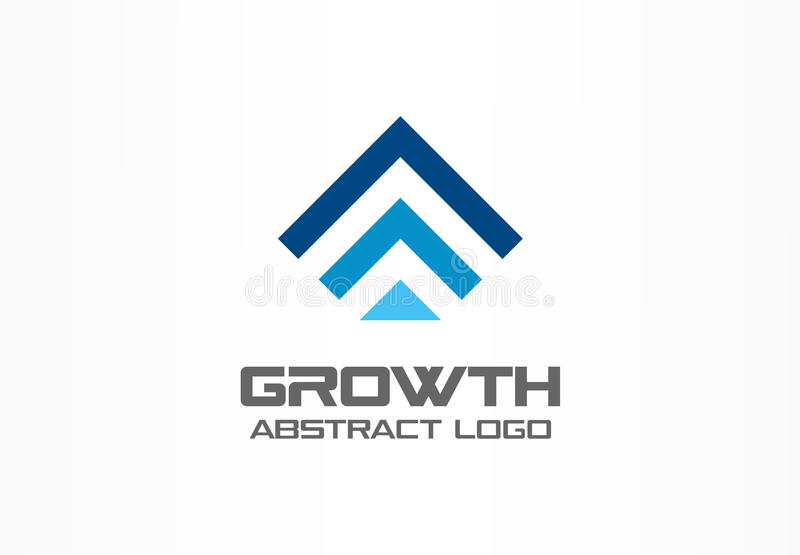 Abstrakt logo för affärsföretag Teknologi som är industriell, marknadslogotypidé Röd pil upp, tillväxtdiagram, framsteg vektor illustrationer