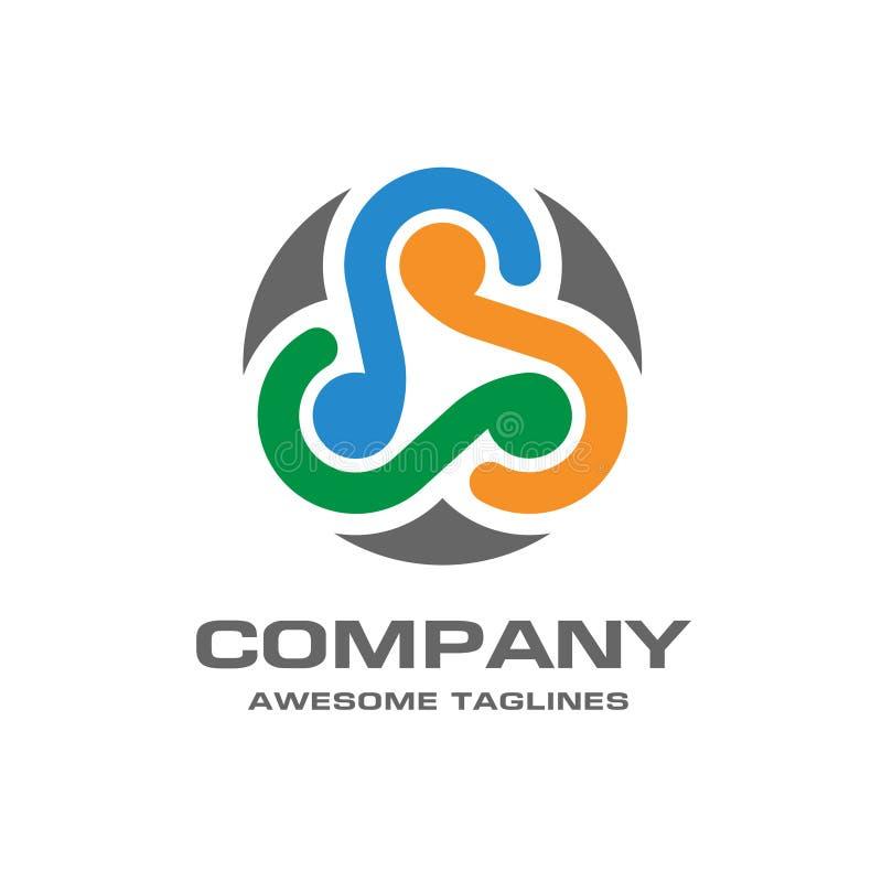Abstrakt logo för cirkelnätverksteknologi royaltyfri illustrationer