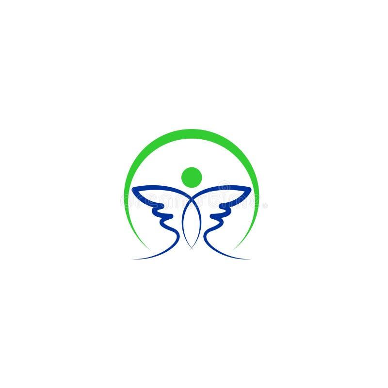 Abstrakt logo för fågelvingvektor stock illustrationer