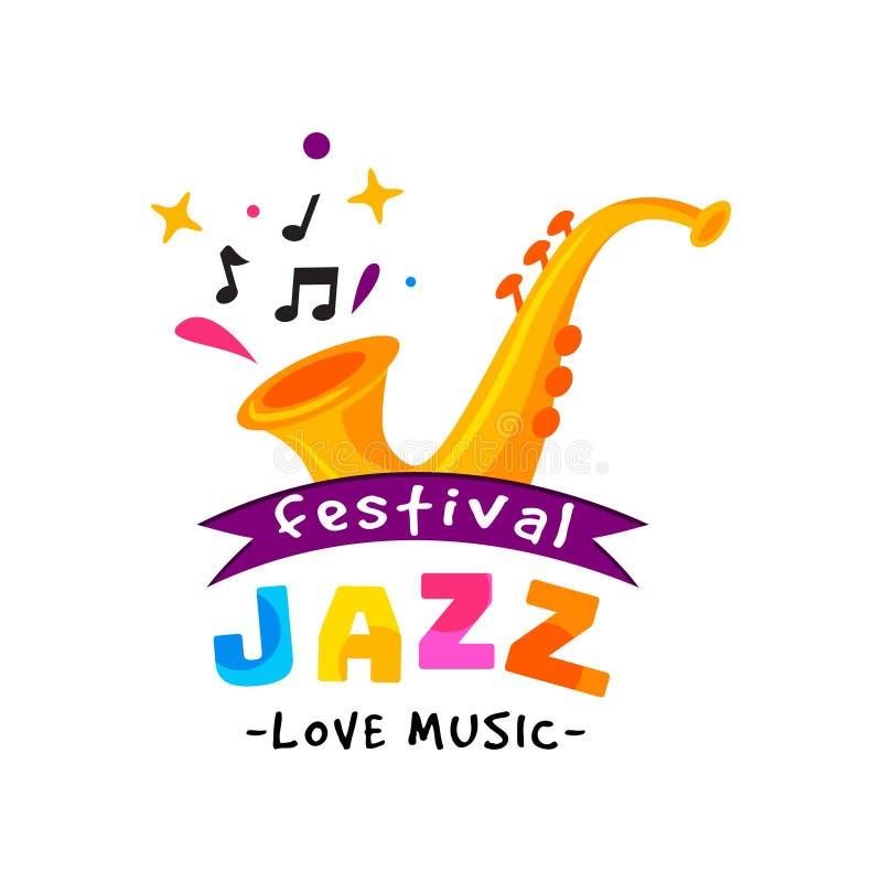 Abstrakt logo för jazzfestival Konsert för levande musik Idérikt emblem med den guld- saxofonen Plan vektordesign royaltyfri illustrationer