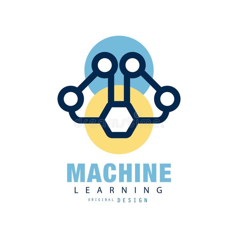 Abstrakt logodesign av att lära för maskin Begrepp av det nerv- nätverket Symbol för konstgjord intelligens Geometrisk plan vekto vektor illustrationer