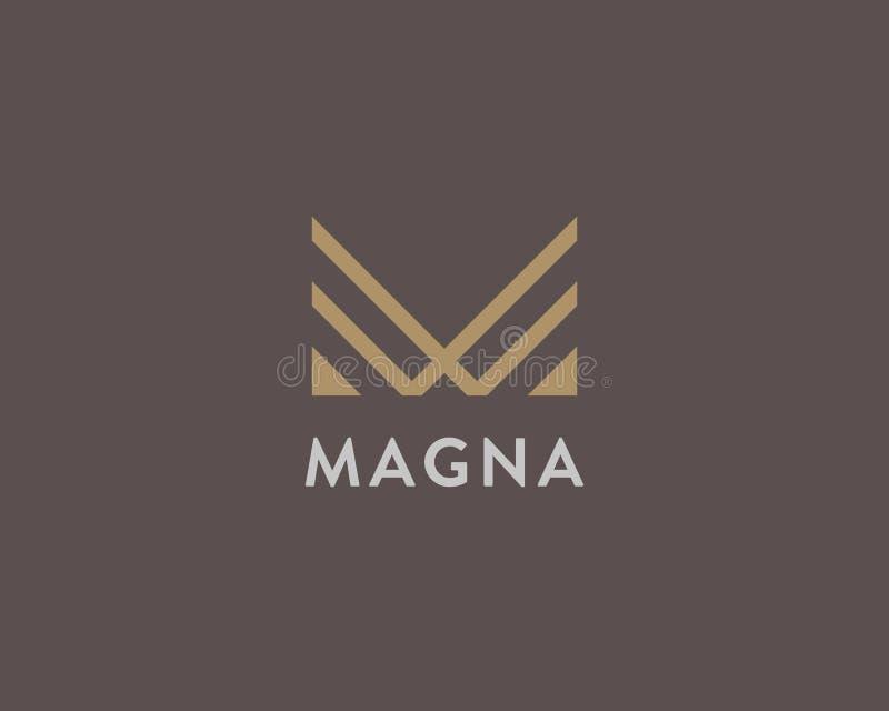Abstrakt logodesign för bokstav M Linjärt elegant vektorsymbolssymbol Högvärdig logotyp för monogram för affärsfinansmassmedia royaltyfri illustrationer