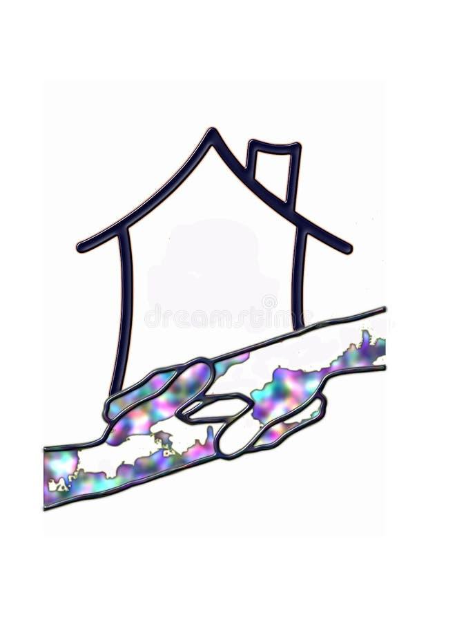 Abstrakt logohus och händer royaltyfri illustrationer
