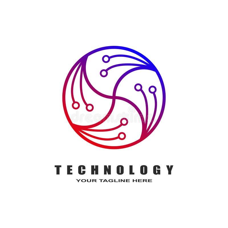 Abstrakt logoteknologimall - stock illustrationer