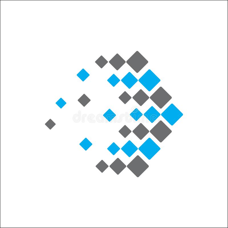 Abstrakt logoteknologipil royaltyfri illustrationer