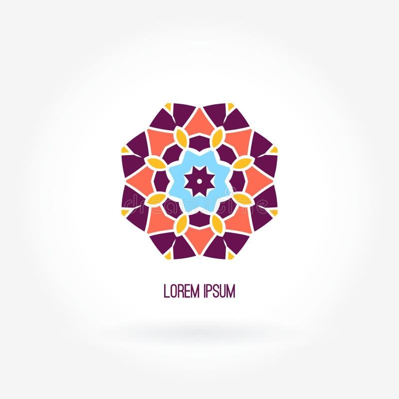 Abstrakt logotyp Blomma Kalejdoskopknopp Mandalalogo Företagslogo, fläck, emblem och beståndsdel vektor illustrationer