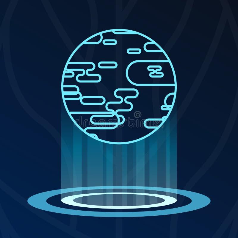 Abstrakt logotyp för ljus för jordplanethologram stock illustrationer