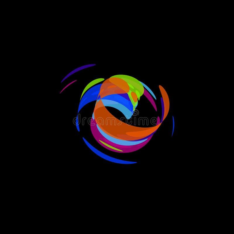 Abstrakt logotyp, rörelseabstrakt begreppform, rund logo, borstesymbol, vektorillustration på svart bakgrund stock illustrationer