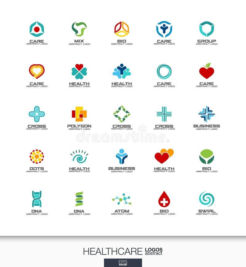 Abstrakt logouppsättning för affärsföretag Arga begrepp för sjukvård, för medicin och för apotek Hälsa omsorg, läkarundersökning vektor illustrationer