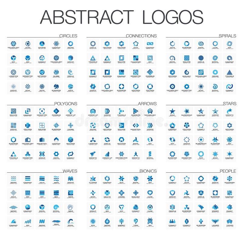 Abstrakt logouppsättning för affärsföretag Designbeståndsdelar för företags identitet stock illustrationer