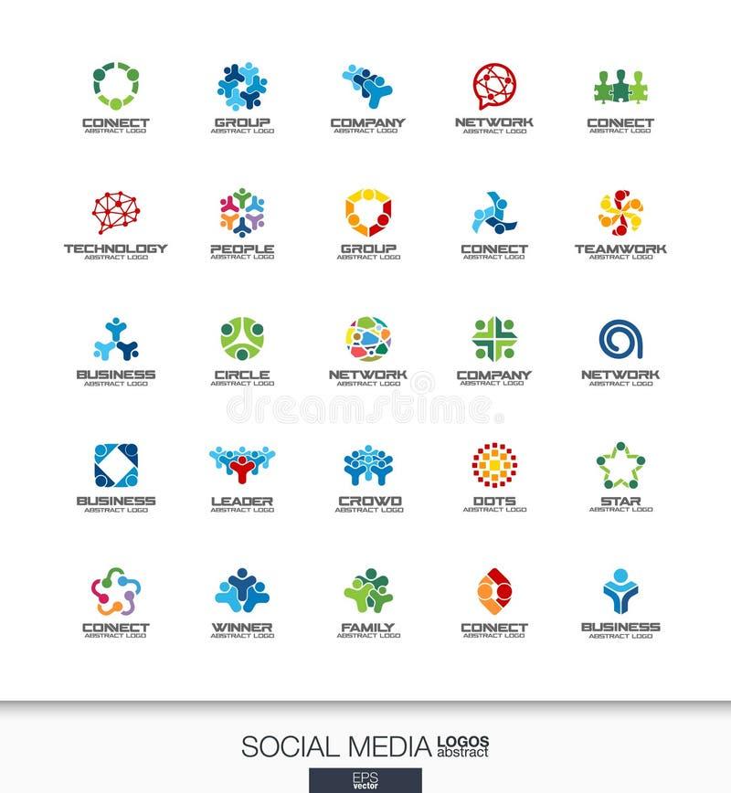Abstrakt logouppsättning för affärsföretag Nätverk, socialt massmedia och internetbegrepp Folket förbinder, abonnenten vektor illustrationer