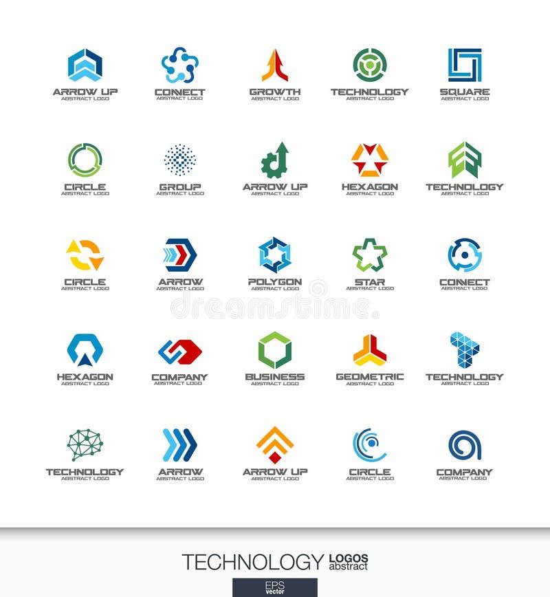 Abstrakt logouppsättning för affärsföretag Teknologi, socialt massmedia, internet och nätverksbegrepp förbind digitalt royaltyfri illustrationer