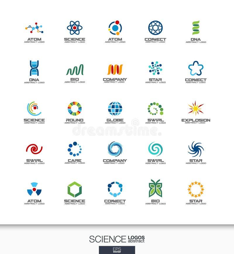Abstrakt logouppsättning för affärsföretag Vetenskaps-, utbildnings-, fysik- och kemikaliebegrepp Dna atom, molekyl som är bio stock illustrationer