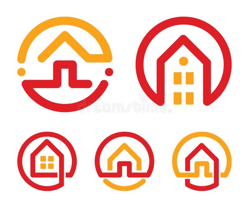 Abstrakt logouppsättning för hus Röd och gul ovanlig linjär samling för symboler för fastighetbyrå Fastighetsmäklarelogo home sym royaltyfria foton