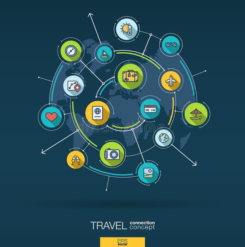 Abstrakt lopp- och turismbakgrund Digital förbinder systemet med inbyggda cirklar, plana symboler för färg vektor stock illustrationer