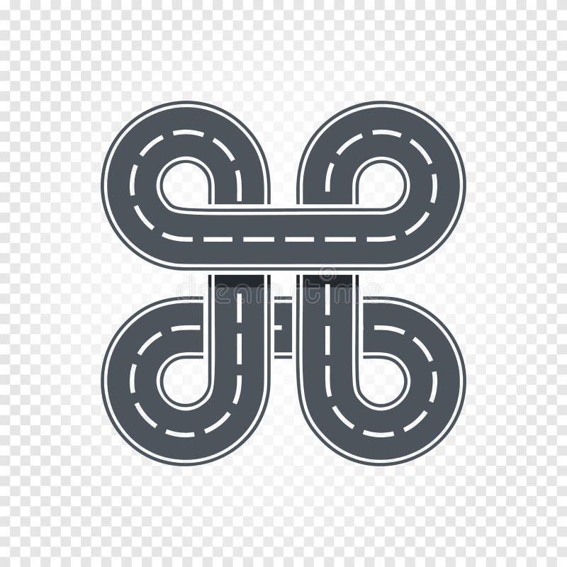 Abstrakt loppsymbol, isolerad väg, grändlogo Higway vektorillustration för tecknad film royaltyfri illustrationer