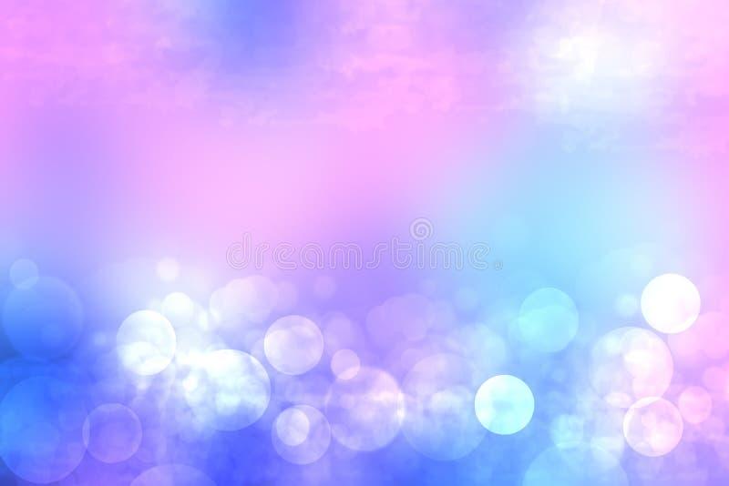 Abstrakt lutning av ljust - bl? rosa pastellf?rgad bakgrundstextur med gl?dande runda bokehljus H?rlig f?rgrik v?r eller royaltyfri bild