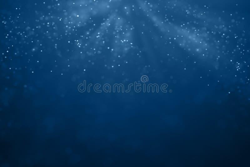 Abstrakt lutningblåttbakgrund med bokeh- och partikelflowi stock illustrationer