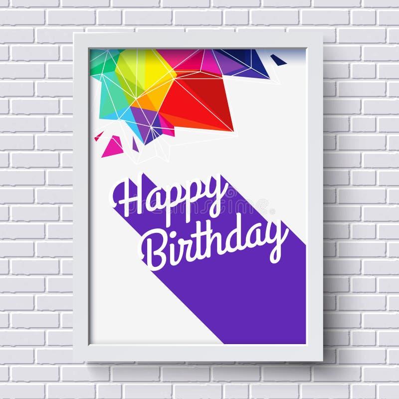 abstrakt lyckligt födelsedagkort white för tegelstenramvägg vektor stock illustrationer