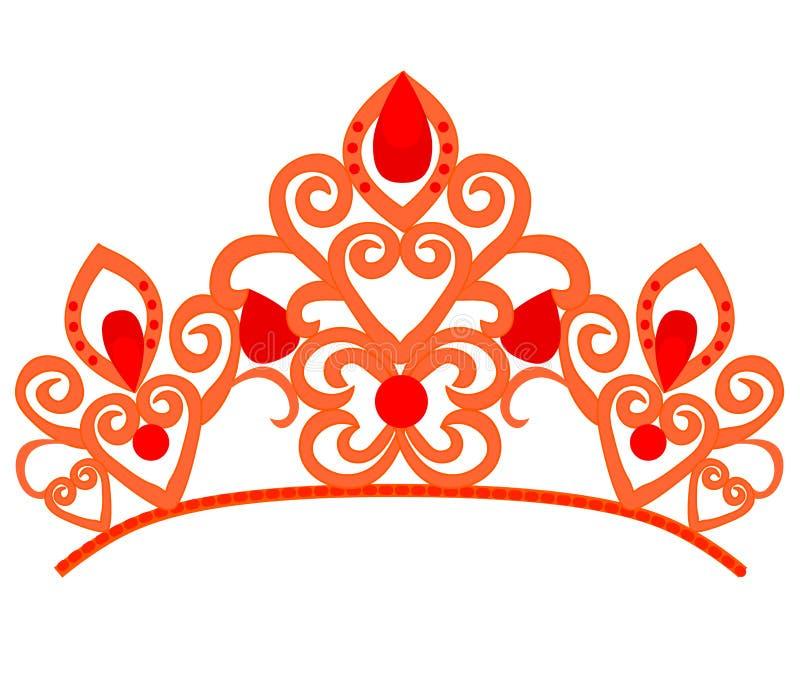 Abstrakt lyx, kunglig guld- design f?r vektor f?r f?retagslogosymbol Elegant krona, tiara, h?gv?rdigt symbol f?r diadem vektor illustrationer
