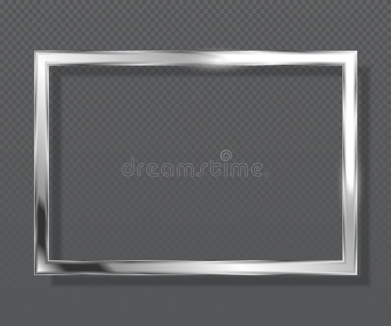 Abstrakt lyxig metallisk fyrkantig ram på genomskinlig bakgrund Silverfärgram vektor illustrationer