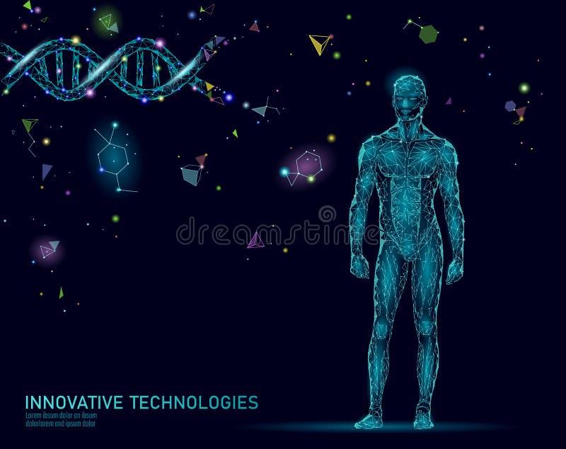 Abstrakt människokroppanatomi Teknologi för stålman för innovation för DNAteknikvetenskap Vård- forskningkloning för genom vektor illustrationer