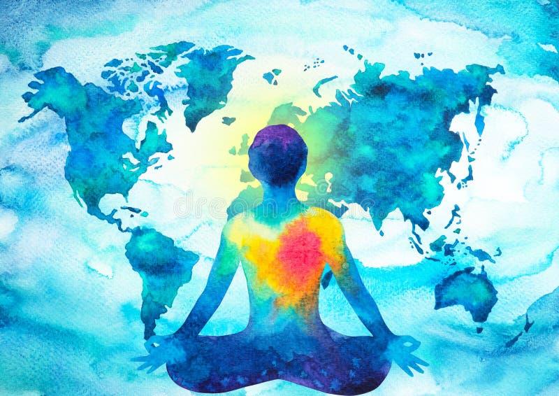 Abstrakt mänsklig bakgrund för världskarta för makt för meditatorchakrauniversum stock illustrationer