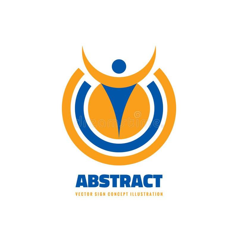 Abstrakt mänsklig charcter i cirkelform - illustration för begrepp för vektorlogomall Idérikt tecken för folk Idérikt symbol för  stock illustrationer