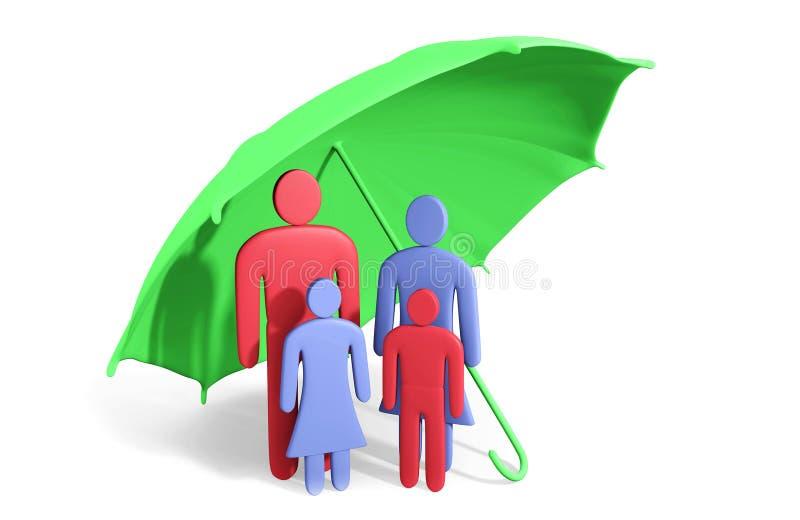 Abstrakt mänsklig familj av fyra under paraplyet stock illustrationer