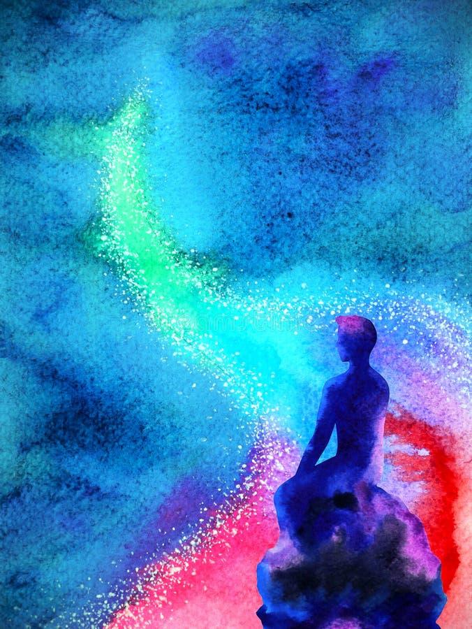 Abstrakt mänsklig tänkande andlig design för illustration för målning för vattenfärg för meningsuniversummakt stock illustrationer