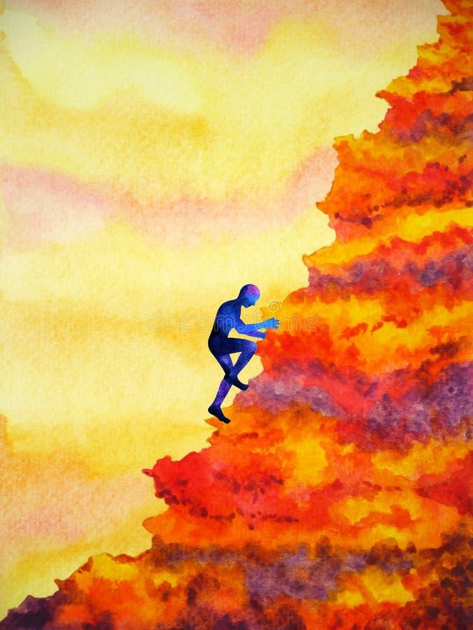 Abstrakt mänskligt högt berg för klättra till designen för illustration för framgångvattenfärgmålning stock illustrationer