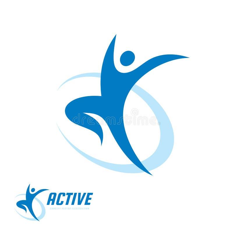 Abstrakt mänskligt tecken - illustration för vektor för mall för begreppsaffärslogo Idérikt tecken för rinnande man aktiv sportko royaltyfri illustrationer
