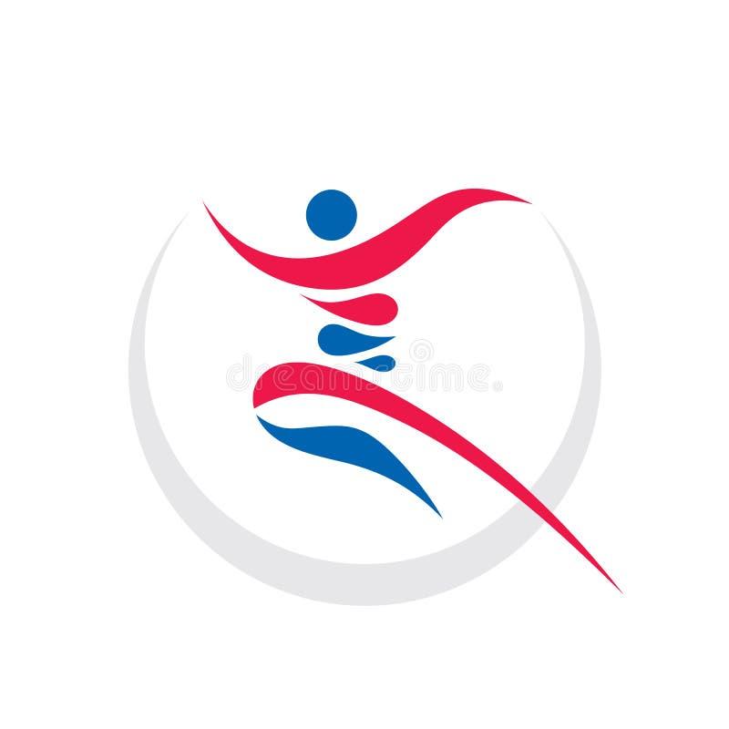 Abstrakt mänskligt tecken - illustration för vektor för mall för begreppsaffärslogo Idérikt tecken för rinnande man aktiv sportko stock illustrationer