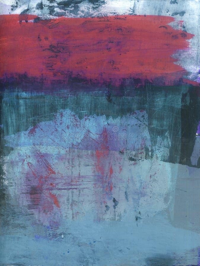 Abstrakt måla för texturer som är rött och som är blått vektor illustrationer