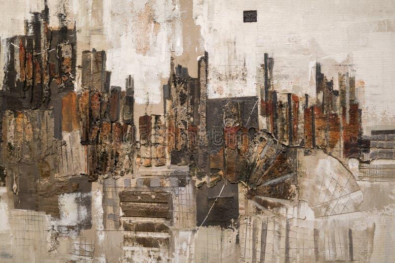 Abstrakt måla konst: Slaglängder med olika färgmodeller som rött, grått och vitt vektor illustrationer