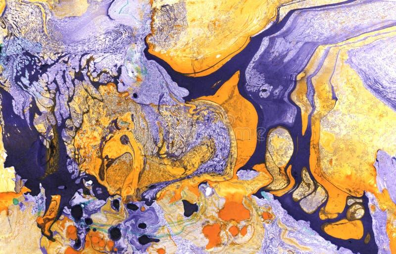 Abstrakt målad bakgrund för marmor hand i modern konststil med den fluid fri-flödande färgpulver- och akrylmålningtekniken stock illustrationer