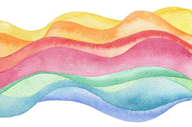 Abstrakt målad bakgrund för våg vattenfärg paper textur vektor illustrationer