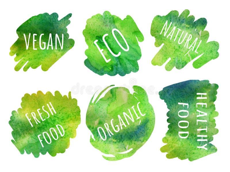 Abstrakt målad bakgrund för vektor hand Uppsättning av NATURLIG mat för klistermärkear stock illustrationer