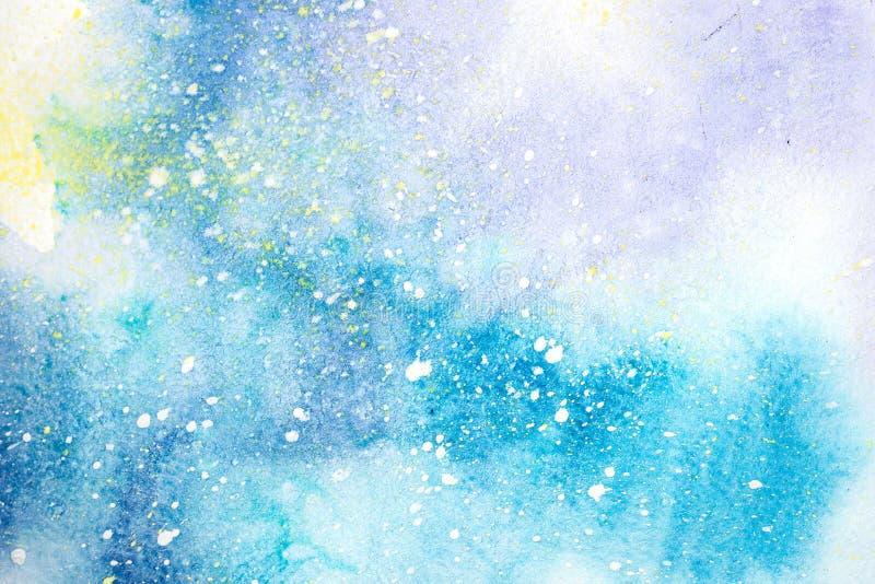 Abstrakt målad illustration för vattenfärg hand Färgrika fläckar texturerar bakgrund stock illustrationer
