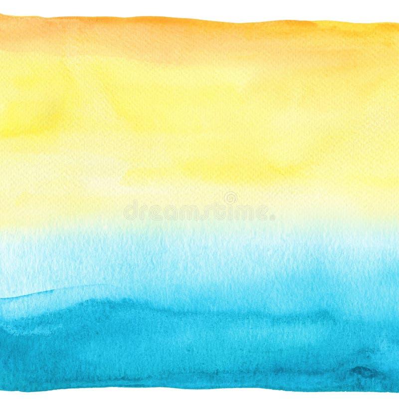 abstrakt målad vattenfärg för bakgrund blå hand texturerat papper royaltyfri bild