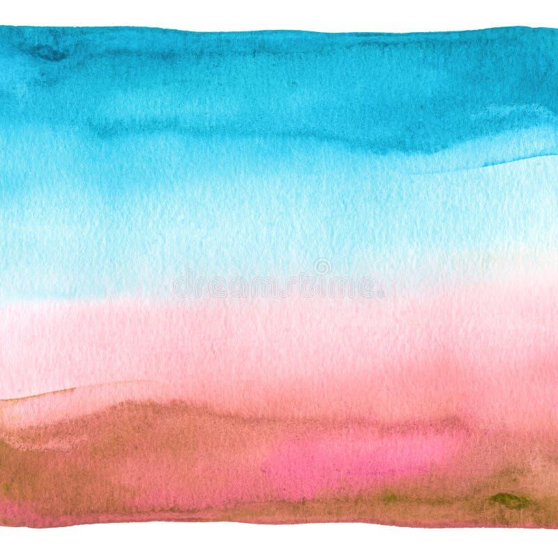 abstrakt målad vattenfärg för bakgrund blå hand texturerat papper royaltyfria foton