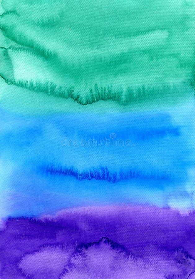 abstrakt målad vattenfärg för bakgrund hand Färgrik textur i gräsplan-, blått- och lilafärger vektor illustrationer