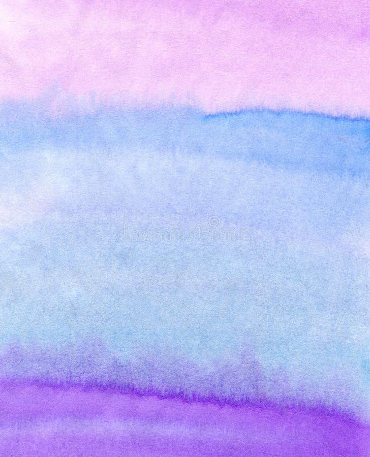 abstrakt målad vattenfärg för bakgrund hand Färgrik textur i rosa färg-, blått- och lilafärger royaltyfri illustrationer