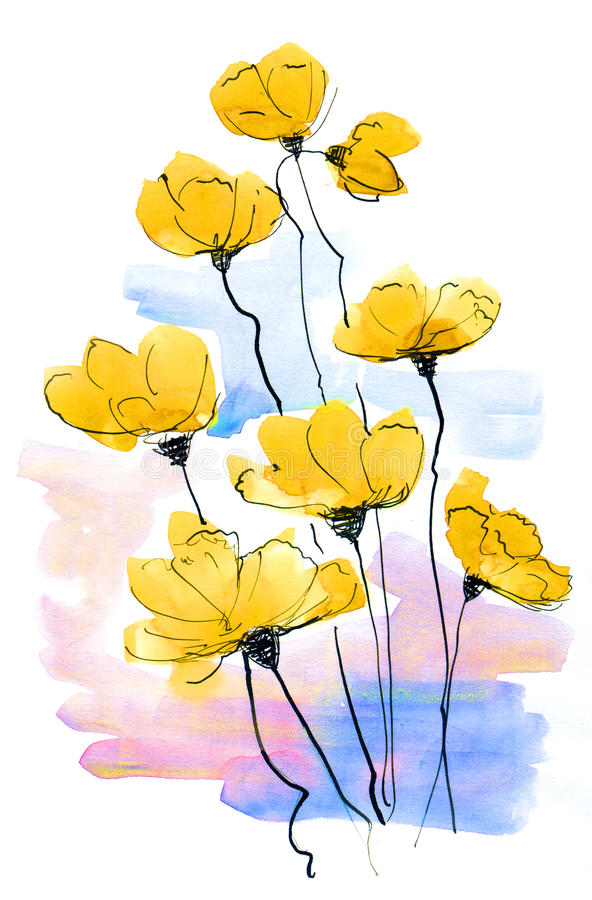 abstrakt målat blom- för bakgrund stock illustrationer