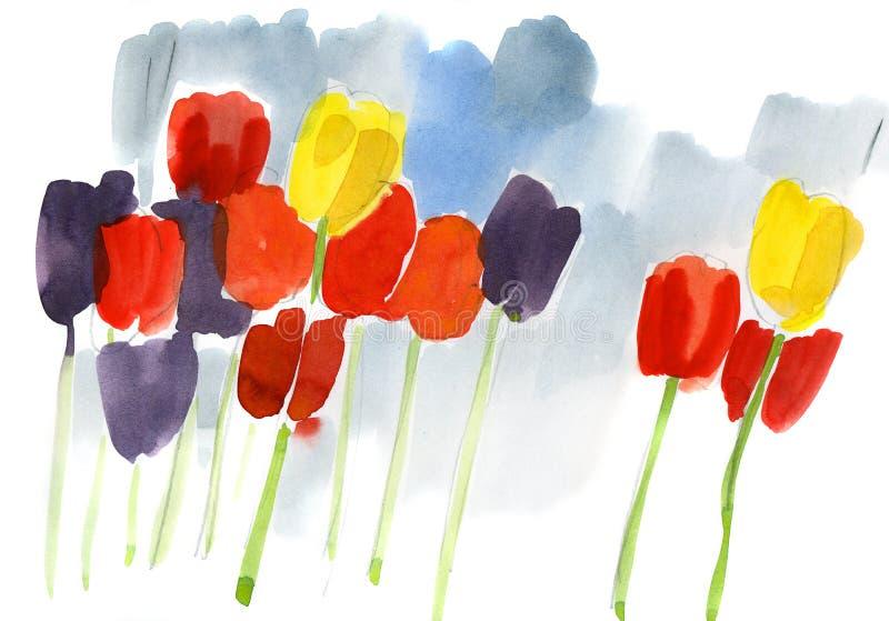 abstrakt målat blom- för bakgrund royaltyfri illustrationer